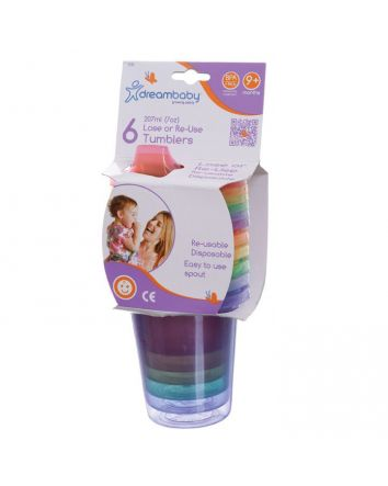 LOSE OR RE-USE SPILL PROOF TUMBLERS 6 PK