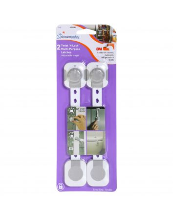 Twist 'N Lock Multi-Purpose Latch, 2 pack, White / Grey