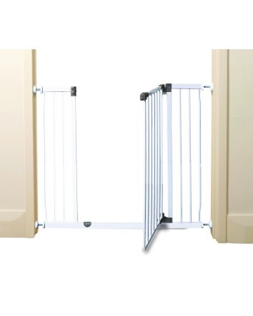 Liberty Extra Tall and Wide 39-42in Auto Close Metal Baby Gate - White