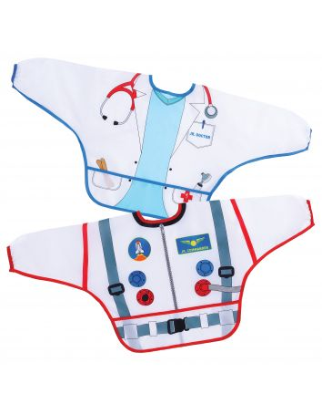 Food & Fun Character Bibs/Smocks with Sleeves 2 pack -Astronaut & Doctor