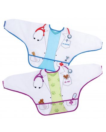 Food & Fun Character Bibs/Smocks with Sleeves 2 pack - Doctor & Vet