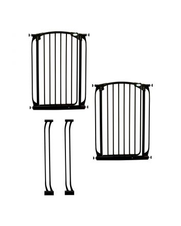 Chelsea Extra Tall Auto Close Metal Baby Gate Value Pack - Black