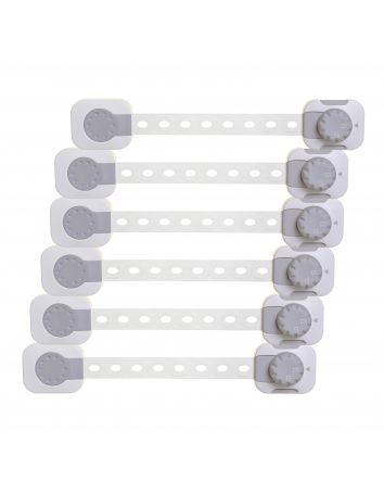 Twist 'N Lock Multi-Purpose Latch, 6 pack, White / Grey