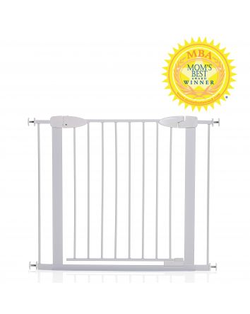 Boston 29.5-38in Auto Close Metal Baby Gate w/ EZY-Check Indicator - White
