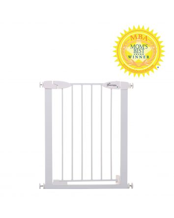Boston 24-26.5in Auto Close Metal Baby Gate w/ EZY-Check Indicator - White