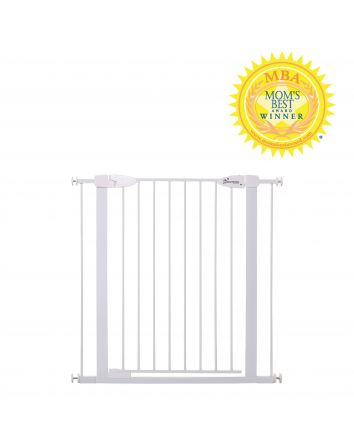Boston Extra Tall 29.5-38in Auto Close Metal Baby Gate w/ EZY-Check Indicator - White