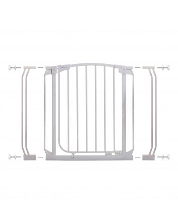 Chelsea 28-39in Auto Close Metal Baby Gate - White