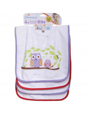 Pullover Bibs - 4 Pack Owls and Whales